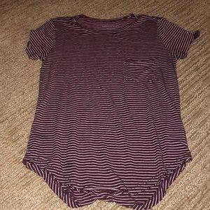 AE maroon striped shirt
